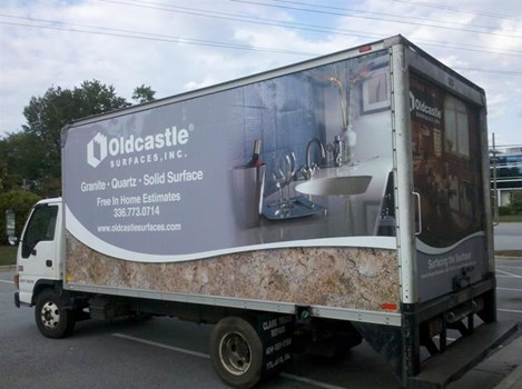 Full wrap for these box trucks; two sides and the back, a great advertisement for them.